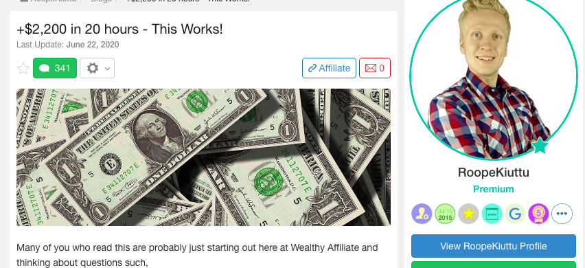 Roope made $2,200 in 20 hours!